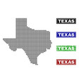 texas state map in dot style with grunge caption vector image
