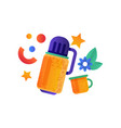 thermos container and cup camping summer travel vector image