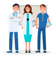 three medical advisers with board on background vector image vector image