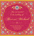 wedding invitation in gold and red vector image vector image