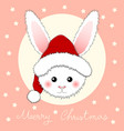 white rabbit santa claus on pink greeting card vector image