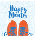 winter banner with shoes on the snowy background vector image vector image