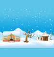 winter landscape with house and dry tree at the mo vector image