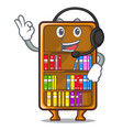 with headphone cartoon bookcase in the study room vector image