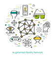 augmented reality network - line art vector image
