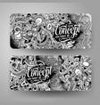 cartoon hand drawn doodles idea banners vector image