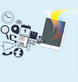 tablet with media icons and colorful vector image