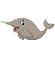 Narwhal Whale cartoon posing vector image