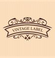 vintage calligraphic label ornate logo template vector image