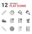 12 lunch icons vector image vector image