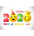 2020 happy emoji day 3d white bg vector image