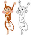 animal outline for happy monkey vector image vector image
