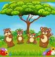 beautiful view with the group of brown bear vector image vector image
