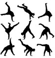 black set silhouettes breakdancer on a white vector image vector image