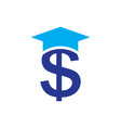 blue dollar sign with graduation hat vector image vector image