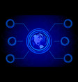 blue world map global hologram vector image