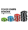 casino chips stacks realistic colored vector image vector image