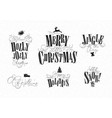 christmas letterings white vector image
