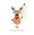 Christmas reindeer with Christmas tree vector image