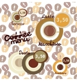 Coffee icon set menu for cafe bar shop vector image