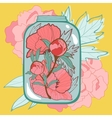 Concept love card with flowers in jar vector image