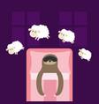 cute lazy sloth sleeping mask jumping sheeps cant vector image vector image