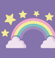 cute rainbow with clouds and stars vector image