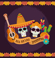 day dead skulls catrina with hat flowers vector image vector image