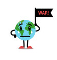earth globe crying with flag war vector image vector image