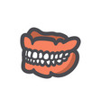 false dentures with white teeth icon vector image