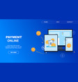 flat banner payment online on blue background vector image