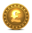 Gold coin with pound sterling sign vector image vector image