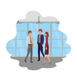 group business with wall and windows avatar vector image vector image