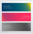 halftone style banners set vector image vector image