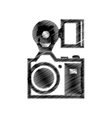 hand drawing camera photographic with flash vector image vector image