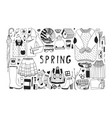 hand drawn spring pattern cute background vector image
