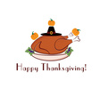 happy thanksgiving with turkey pilgrim hat and vector image vector image