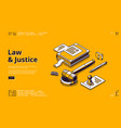 law and justice isometric landing page legislation vector image vector image