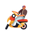 man in helmet on moped isolated character riding vector image