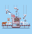 milk manufacturing stage processing on conveyor vector image vector image