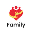 people group family heart hug logo design graphic vector image vector image