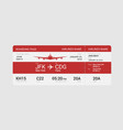 red boarding pass vector image vector image