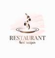 restaurant plate logo plate vegetables on white vector image vector image