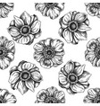 seamless pattern with black and white anemone vector image vector image