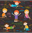 seamless pattern with child art on asphalt vector image vector image