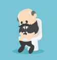 senior businessman sits on toilet bowl diarrhea vector image