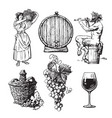 set hand drawn elements for wine design vector image vector image