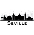 Seville City skyline black and white silhouette vector image vector image