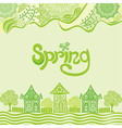 Spring nature pattern background houses vector image vector image