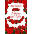 springtime roses flowers frame poster vector image